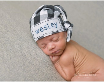 newborn personalized hat - cute newborn outfit - trendy baby - baby name hat - buffalo plaid hat - newborn photo prop - baby hat - baby gift