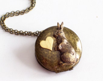 Brass Rabbit Locket, Collage Locket, Antiqued Brass Locket, Bunny Jewelry, Round Locket, Rabbit Pendant Necklace, Bunny Locket