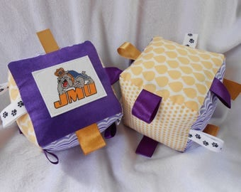 JMU Baby Sensory Soft Block, James Madison Baby, Sensory Block, Crinkly Toy, Sports toys, teething toy,  fabric block, teething toy
