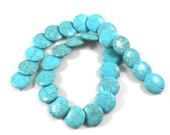 Magnesite Stone Lentil Beads, Turquoise Blue, Brown Matrix Lines, Full Strand, Blue Green Beads, Flat Round Overlapping, Stone Beads