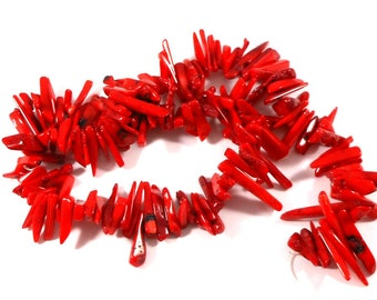 Red Bamboo Coral Chip Stick Beads, Red Stick Beads, Coral Spike Beads, Crafting Supplies, Really Red Bamboo Coral, Jewelry Making