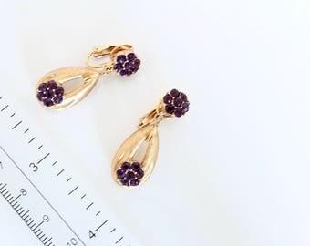 Crown Trifari Amethyst  Rhinestone Earrings  Clip on # 1065