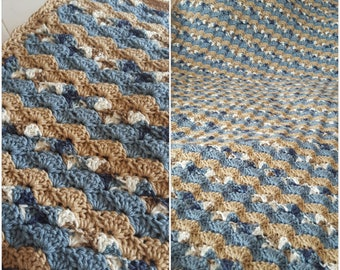 Crochet Striped Shell Stitch Blanket, Baby Blanket, Stroller Blanket, Bedding, Twin Bed, Queen Bed, King Bed - Pick Your Color(s)!
