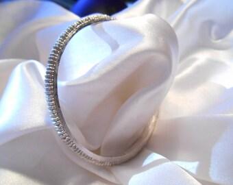 Crown Trifari Silver Toned Textured Bangle Bracelet