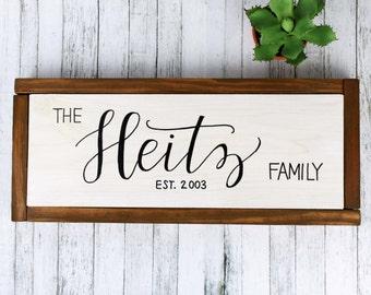 Personalized Family Name Est Painted Wood Sign, Framed Custom Last Name Decoration, Year Established Wedding Gift Wall Decor