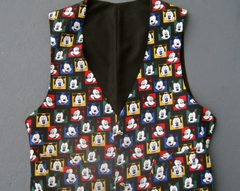 Mickey Mouse Men's Vest and Bow Tie Set PROM Vintage 90s Never Worn Full Vest Tuxedo Formal Wear MEDIUM SIZE 44 Mickey Mouse and Co.
