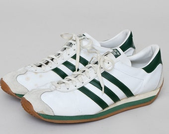 70s ADIDAS Country Made in France White and Green Leather Tennis Shoes 9 Mens