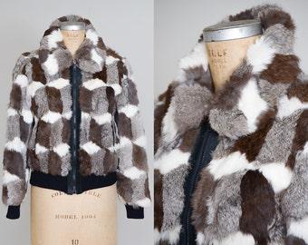 70s Rabbit Fur Bomber Jacket Diamond Abstract Pattern Cropped Disco Glam Jacket