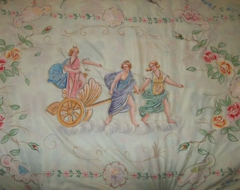 "Antique Hand Painted ITALIAN Bed Spread ..French Country Decor...Good Condition...Big 96"" by 96""..FREE Shipping"