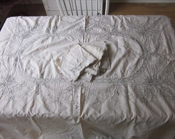 "Vintage Tablecloth + 6 napkins  embroidered ivory cotton rectangle 80""X64"""