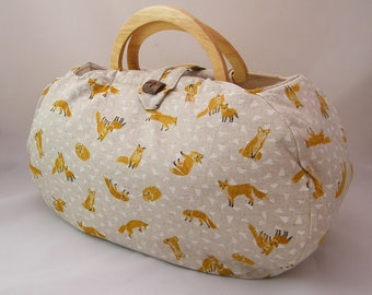 Large project bag. Fox fabric knitting bag.
