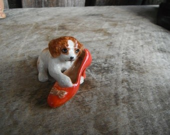 Vintage Miniature Shadow Box Ceramic Figurine - Puppy With High Heel Shoe