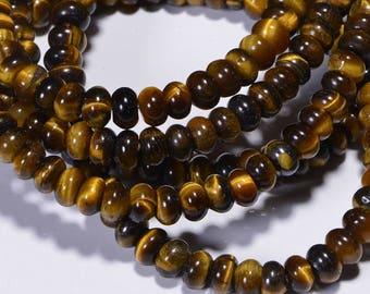 Tigers Eye 6.2x3.7mm Half Strand Rondelle Beads Natural Gemstone Beads Craft Supplies Jewelry Making