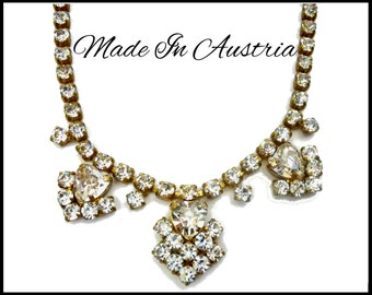 Austrian Crystal Heart Rhinestone Necklace, Rhinestone Hearts, Adjustable Choker, Bridal Heart Necklace, Gift for Collector, Gift for Her