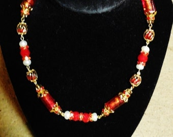 "Gold Pearl Necklace with RED LAMPWORK Glass with Earrings 16-18"" Choker Freshwater A Grade Button Pearls Red Swarovski Crystals Ooak Handmad"