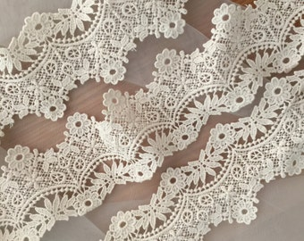 Vintage Style Cotton Venice Lace Trim in Beige ,2 yards