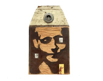 visiting hours, original mixed media assemblage, memory loss, hand carved wood, folk art portrait by Elizabeth Rosen