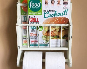 Vintage Bathroom Toilet Paper and Magazine Rack ~ Wall Mount Wooden Rack in Distressed White