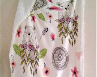 Hand DrawnFloral Bear Baby Blanket Pink Green Minky Blanket - Baby Bedding