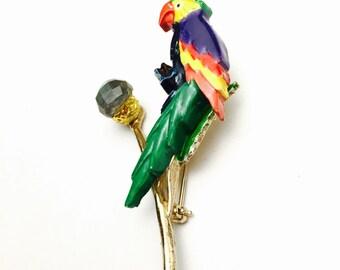 Enamel Parrot Brooch, Multicolor, Gold Tone, Animal Brooch, Collectable, Item No. B502