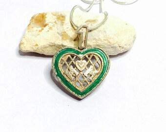 Vintage Sterling silver heart pendant  #1 MOM, green enamel, Clearance Sale, item No S251