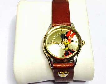 Vintage Minni mouse wrist watch, brown leather band, Disney collectors, Clearance Sale, Item No. B200