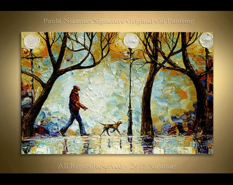 Painting on canvas A Walk in the Park Oil Heavy Palette Knife Texture art by Paula Ready to Hang
