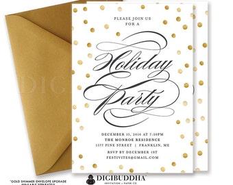HOLIDAY PARTY INVITATION Festive Christmas Party Invitations Party Invite Christmas Invite Holiday Party Invite Printed Invitations - Gunnar