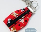 Dog Lovers Zippered Key Chain, Key Fob, dog key chain, dog breed accessories