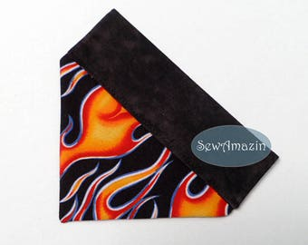 Hot Flames Over-the-Collar Dog Bandana, Biker Dog Bandana