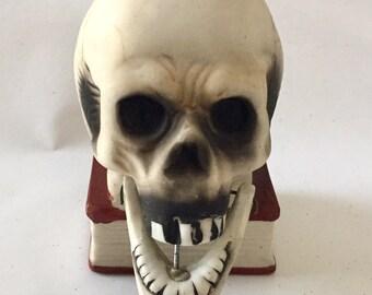 Vintage 1940s 50s Occupied Japan Porcelain Skull Candleholder Moveable Jaw Excellent