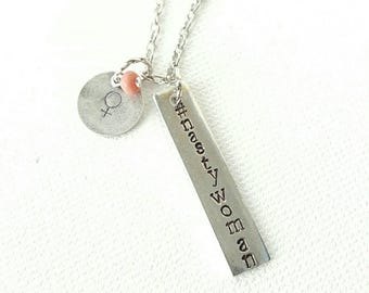 Nasty Woman handstamped pewter silver necklace. Feminist. Resistance.