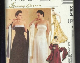 15% OFF SPRING SALE McCalls 2954 Princess Seam Evening Gowns & Matching Shawl Sizes 6-8-10