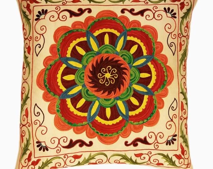 Suzani Pillow, Suzani Silk Pillow Cover SP7-20, Uzbek Suzani, Suzani, Decorative pillows, Accent pillows, Designer Pillows, Throw Pillows