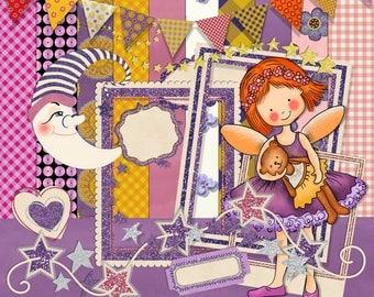 Fairy Scrapbook, Fantasy Scrapbook, Girl scrapbook Digital Scrapbook, Instant Download, Digital Scrapbook, Purple Fairy