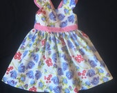 2T Tulip and Gingham Dress with Flutter Sleeves, Size 2T, Ready to Ship, Easter Dress, Spring Dress, Summer Dress