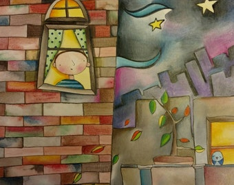 Watercolor and Colored Pencil Illustration - Sky Gazing