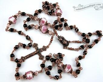Unbreakable Onyx Rosary confirmation gift wirewrapped rosary catholic gift keepsake rosary black catholic rosaries ladies rosary unbreakable