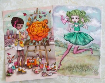 Orange Blossom or Lime Chiffon - A5 Super Luxe Art Card - Inspired by Strawberry Shortcake, Friendship, Pastel Hair and Eighties Cartoons