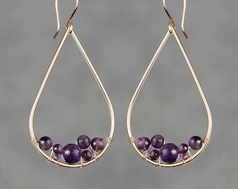 14k rose gold filled amethyst Teardrop hoop earring handmade US free shipping Anni Designs