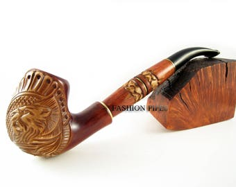 """Long Tobacco Smoking Pipes Wooden Pipe """"LION"""" Engraved, Limited Edition"""