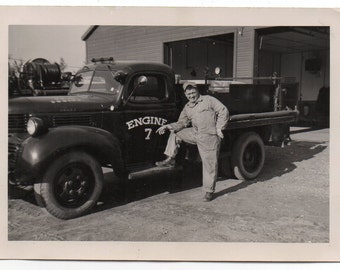 Man With Industrial Truck Mid Century Modern Photo Engine 7 Classic Car Photograph Automobile Collectible Auto Memorabilia