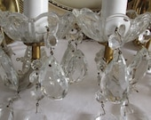 Vintage French stunning large pair of crystal drop wall lights. Paris apartment, cottage chic