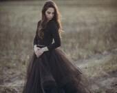 "Eleanor Skirt 10"" Train - Wedding Skirt -Black Wedding Dress - Horse Hair Wedding Dress - Tulle Wedding Dress - Wedding Separates"