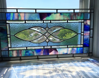 Stained Glass Panel|Beveled Glass Panel|Blue|Multi-Colored Art Glass|Elegant Glass Panel|Window Treatment|Glass Art|Handcrafted|Made in USA