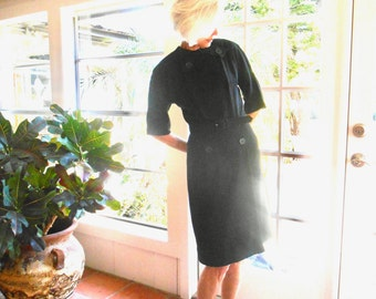 Vintage R & K Originals black dress 1950's wiggle dress metal zipper mid century lbd button detail little black dress: medium, medium large