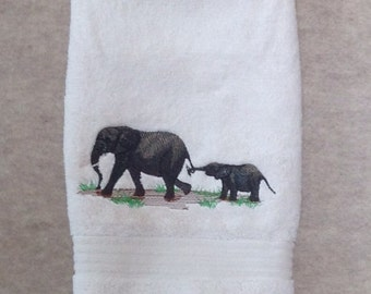 Oversized heavyweight cream hand towel with elephant and calf machine embroidery