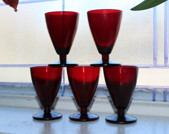 5 Royal Ruby Red Cordial or Juice Glasses Vintage 1950s