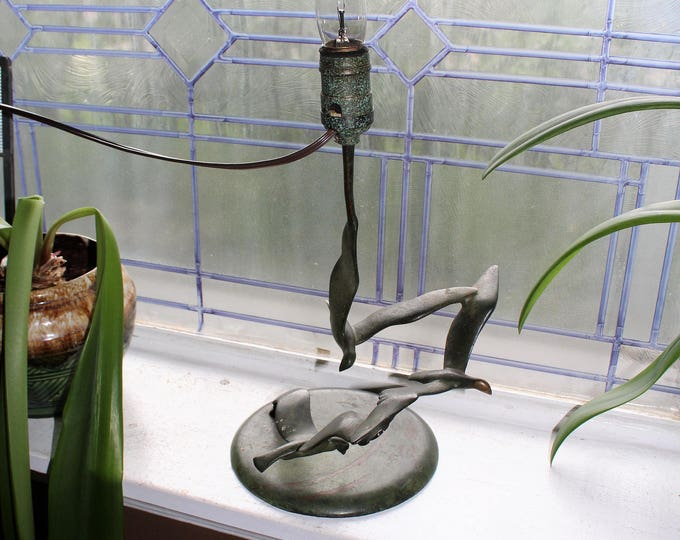 Robert Garret Thew Bronze Lamp Flying Seagulls Vintage 1920s Art Deco