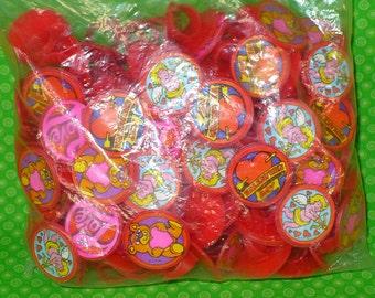 Vintage Valentine's Day Plastic Rings Cupcake Toppers-Valentine's Day Cupcake Toppers-Valentine's Day Vintage Rings-Valentine's Rings 144